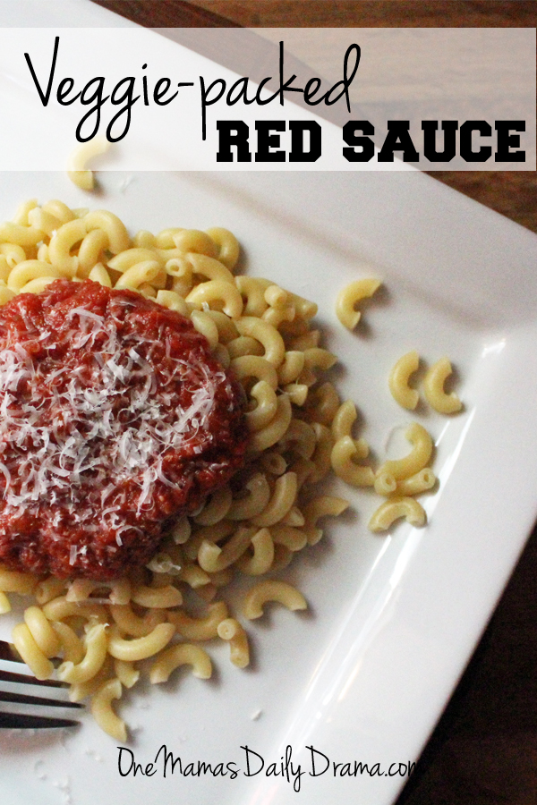 Veggie packed red sauce   from One Mama's Daily Drama --- Easy red sauce recipe for marinara, spaghetti, lasagna, etc.