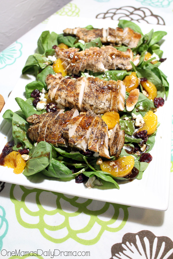 Cranberry orange spinach salad with chicken | One Mama's Daily Drama