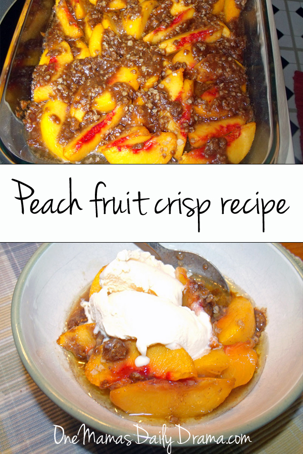 Peach fruit crisp recipe | One Mama's Daily Drama --- Enjoy fresh summer peaches with this easy peach crisp recipe. Can also substitute other fresh fruit, like apples.