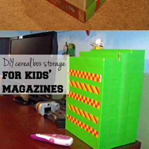 DiY cereal box storage for kids' magazines | One Mama's Daily Drama