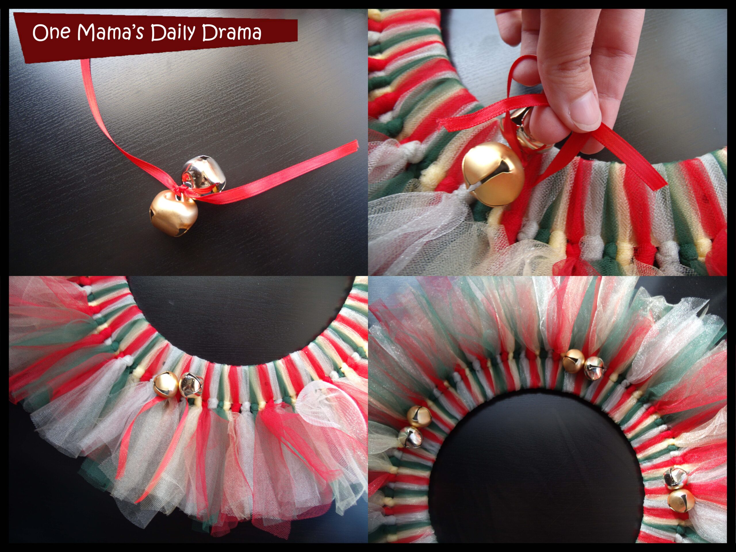 Christmas tulle wreath: string the jingle bells between the tulle pieces.