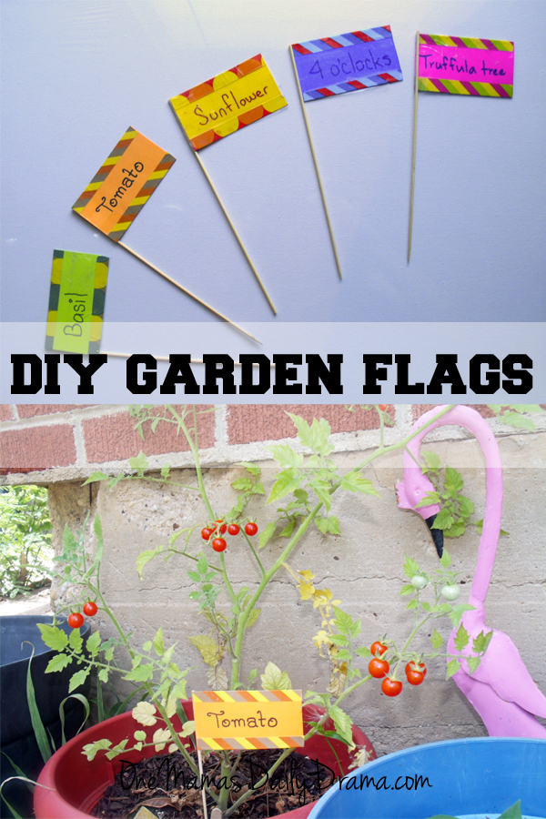 Garden crafts for small spaces: DiY garden flags | One Mama's Daily Drama --- Make these simple plant markers with paper, tape, and wooden skewers.