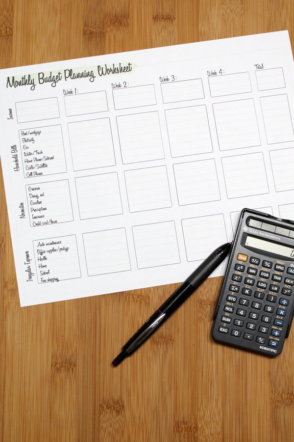 budget worksheet on a table