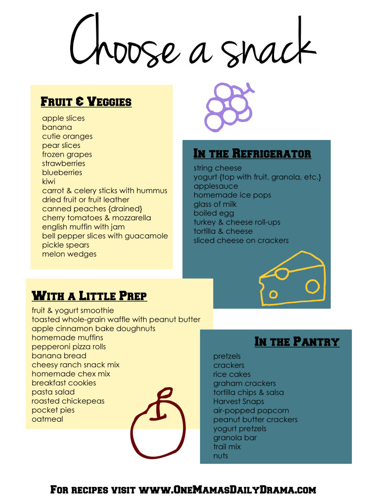 50 healthy after-school snacks for kids + printable refrigerator list | One Mama's Daily Drama