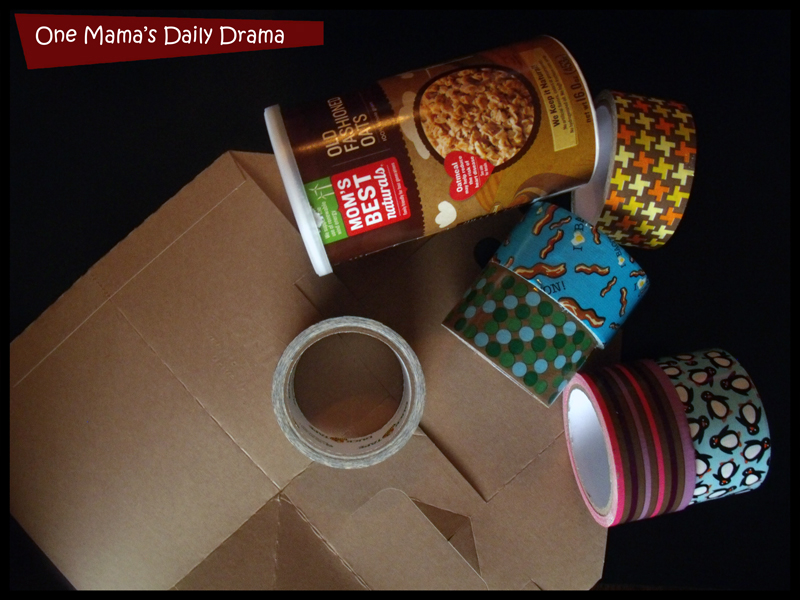 Kids desk organizer DiY make with oatmeal containers and a Sonic drink box! | One Mama's Daily Drama