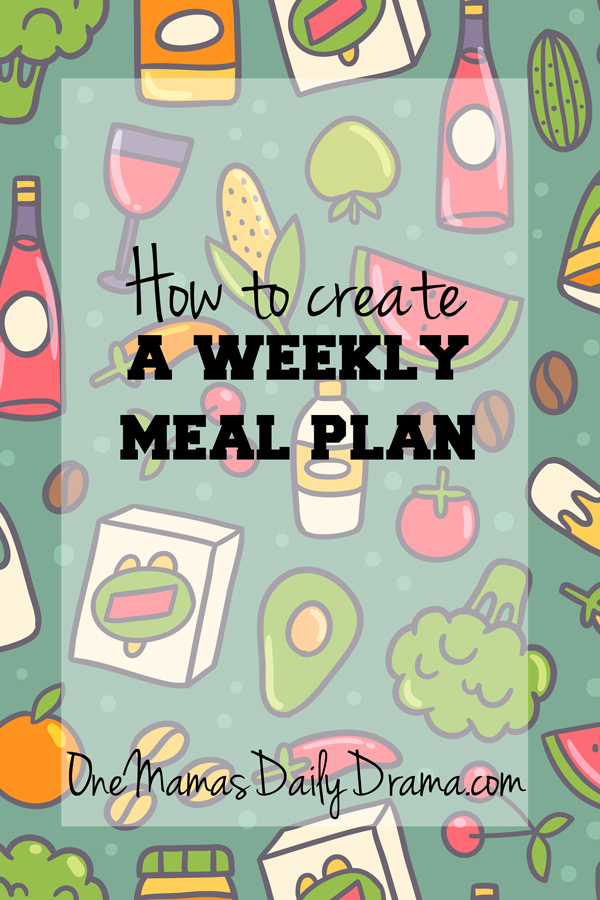How to create a weekly meal plan +3 printable worksheet pages | One Mama's Daily Drama