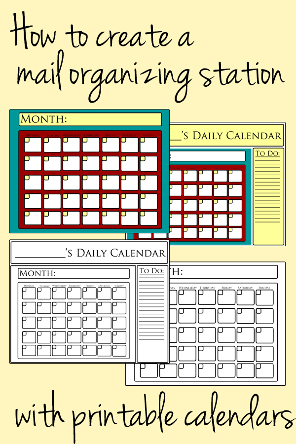 How to create a mail organizing station with printable calendars | One Mama's Daily Drama