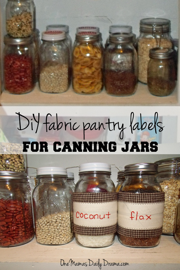Diy fabric pantry labels for canning jars | One Mama's Daily Drama --- These are so cute! I love the retro decorating and it keeps the pantry staples fresh for a long time.