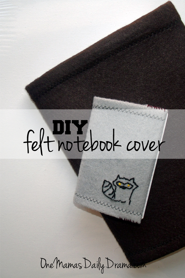 DiY felt notebook cover | One Mama's Daily Drama --- Easy tutorial for covering a spiral or composition book + hand embroidery patterns. Part of the 12 weeks of handmade Christmas gifts series.