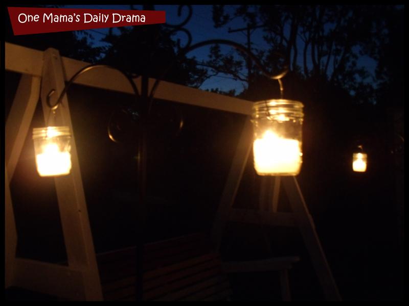 homemade candles at night