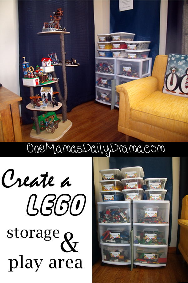 Create a Lego storage & play area + free printable labels | One Mama's Daily Drama