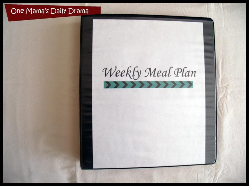 weekly menu planning system binder