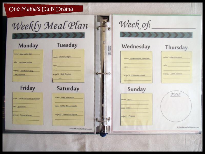 weekly meal plan calendar