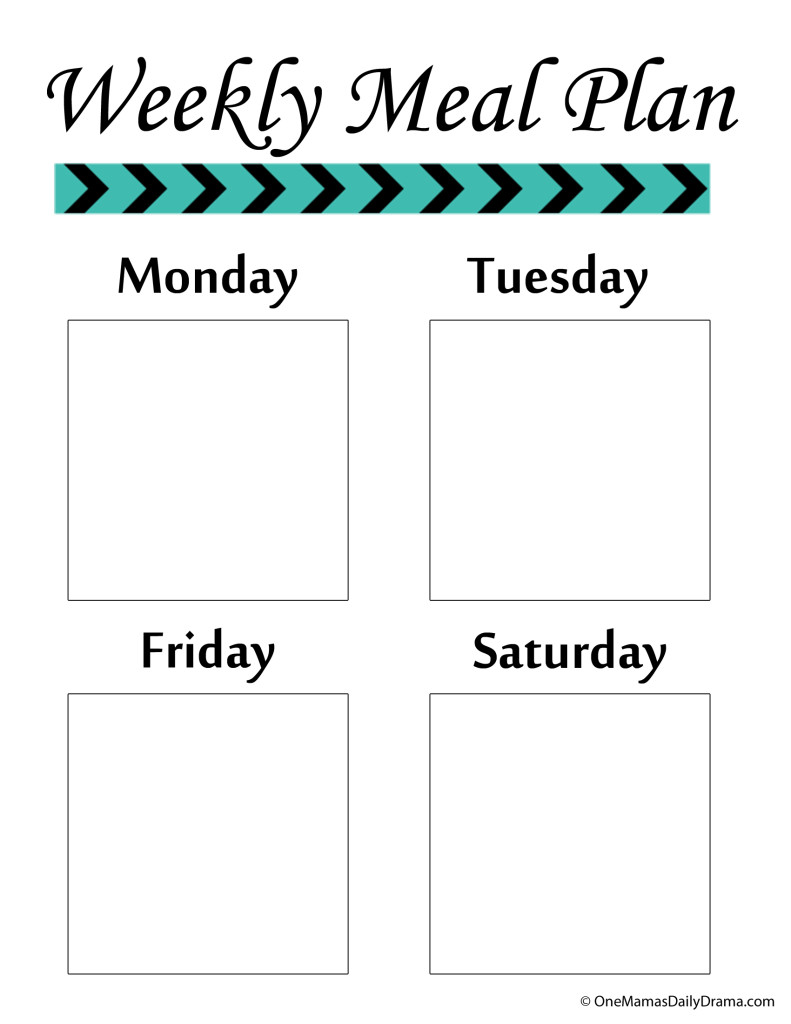 weekly meal plan page 1
