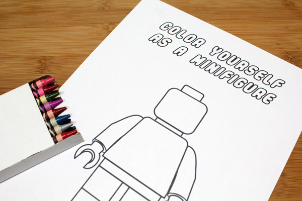 minifigure coloring page from One Mama's Daily Drama
