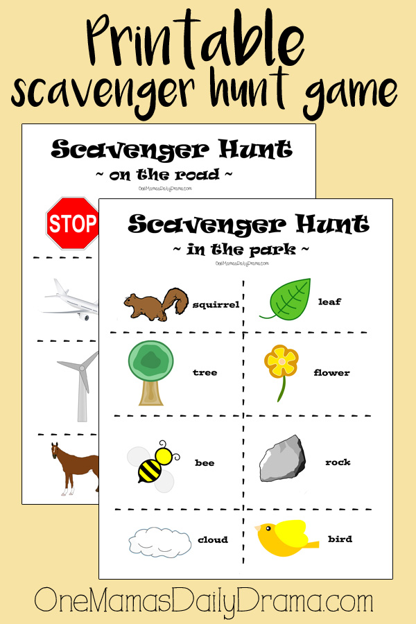 graphic relating to Printable Scavenger Hunt called Printable scavenger hunt activity