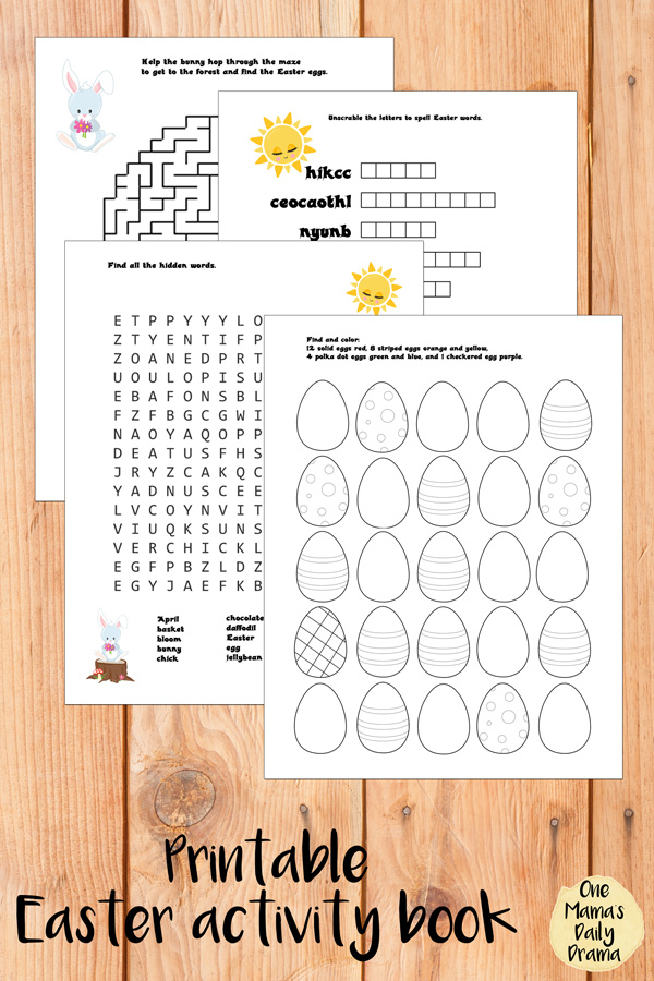 Printable Easter activity book with 4 worksheets