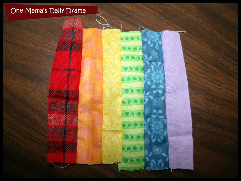Sew strips together lengthwise