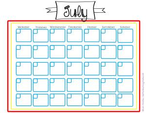 July summer calendar