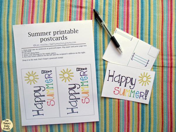 Free printable 2-sided summer postcard