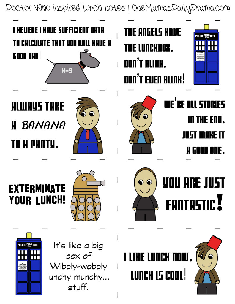 Doctor Who lunch box notes printable