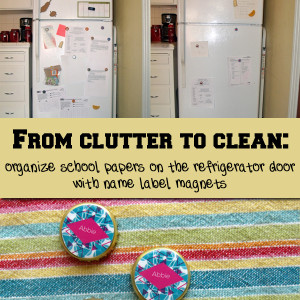 From clutter to clean: Organize school papers on the refrigerator door with DIY name label magnets | One Mama's Daily Drama