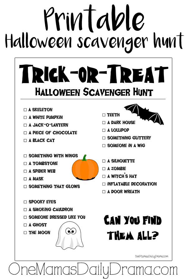 Printable Halloween scavenger hunt | trick-or-treat activity for kids