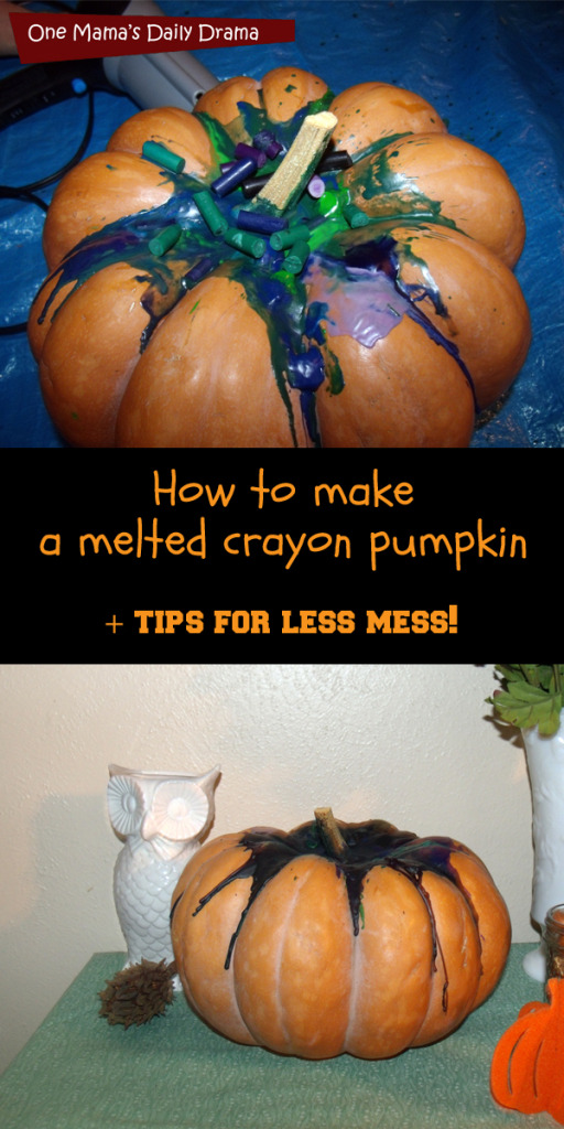 DIY melted crayon pumpkin + tips for less mess | One Mama's Daily Drama
