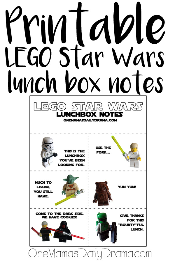 Printable LEGO Star Wars lunch box notes
