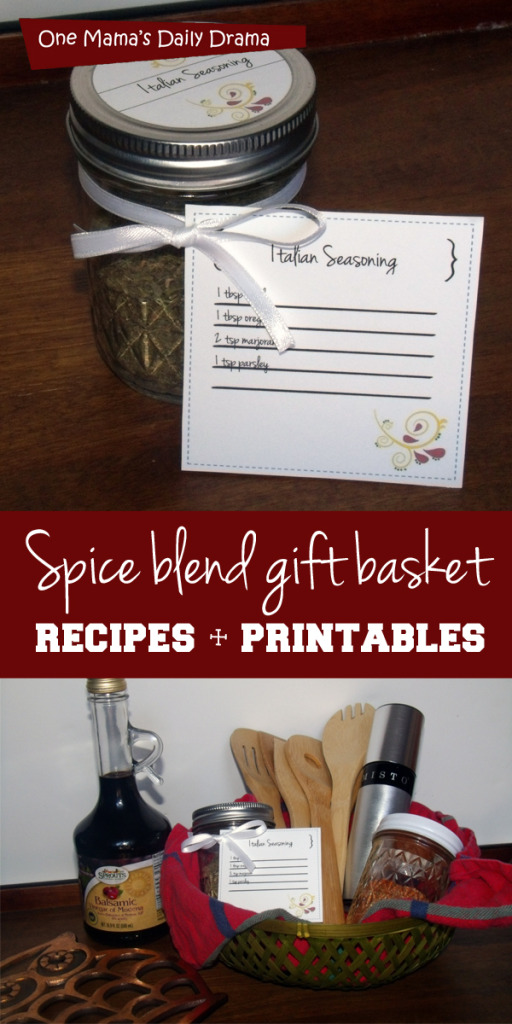 Spice blend gift basket recipes + printables | One Mama's Daily Drama -- Just in time for Christmas, make an easy gift basket.