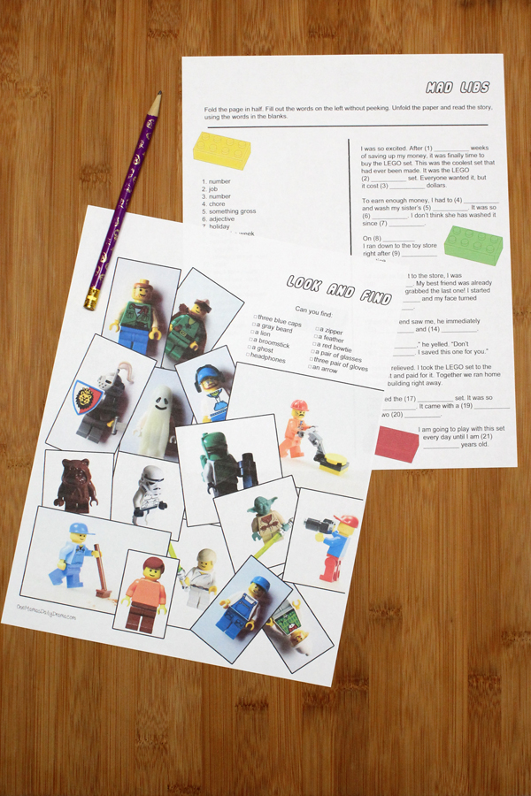 look and find activity sheet and Mad Libs story