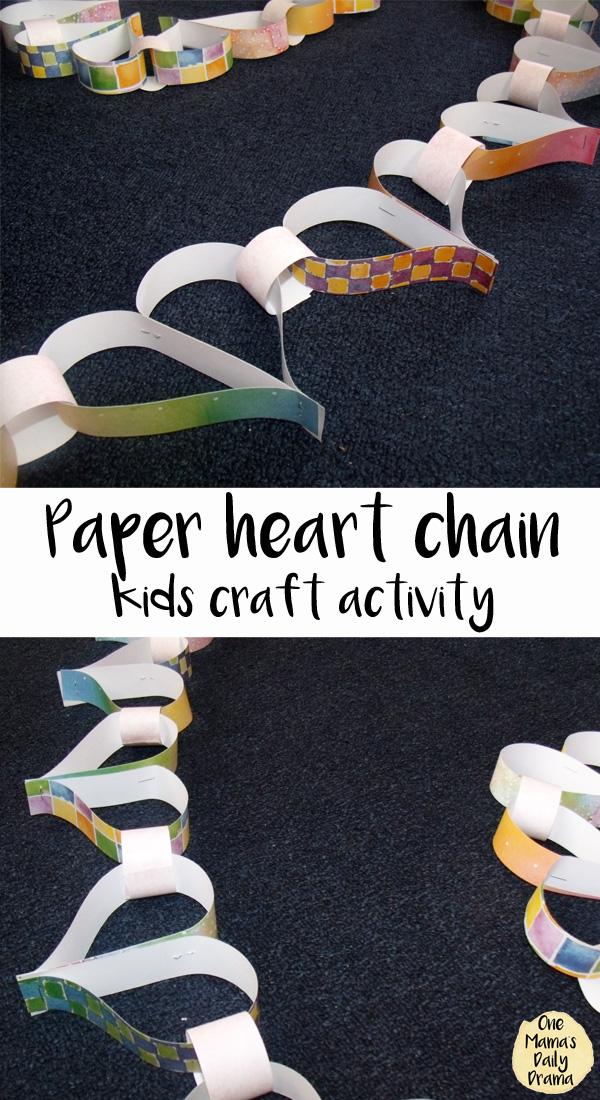 Paper heart chain kids craft activity | OneMamasDailyDrama.com