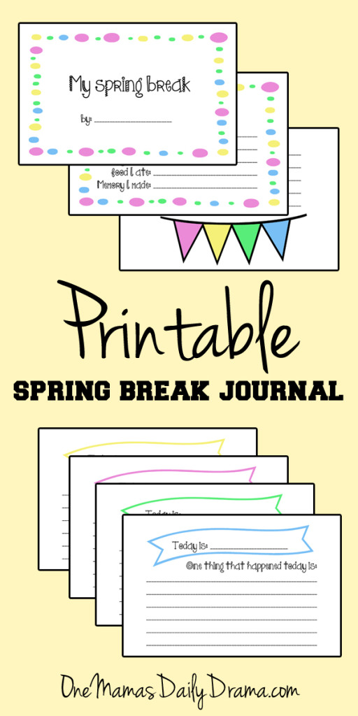 Free printable spring break journal for kids with prompts, lines, and doodle space | One Mama's Daily Drama