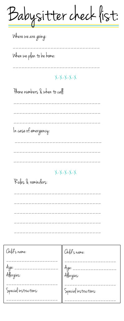 Persnickety image for babysitter checklist printable