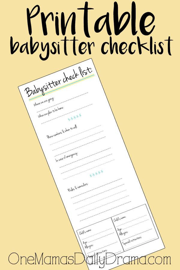 It is an image of Eloquent Babysitter Checklist Printable