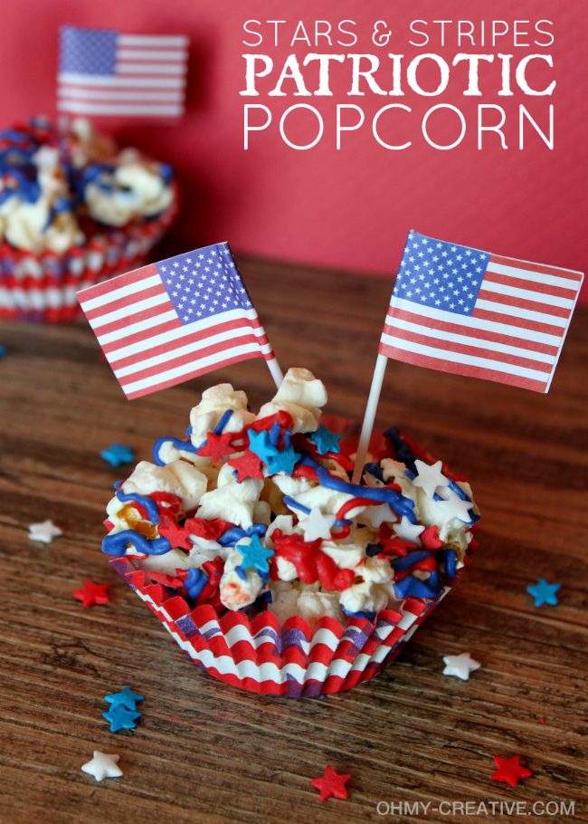 Stars and stripes patriotic popcorn | Oh My creative