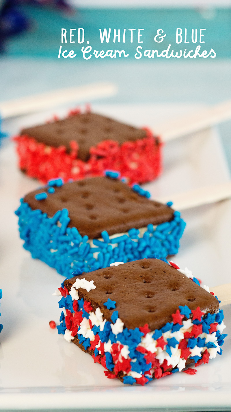 Red, white and blue ice cream sandwiches | Scattered Thoughts of a Crafty Mom