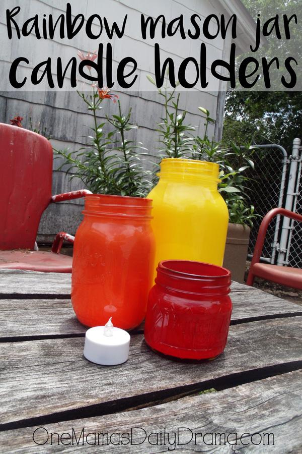 DiY rainbow mason jar candle holders | How to paint canning jars