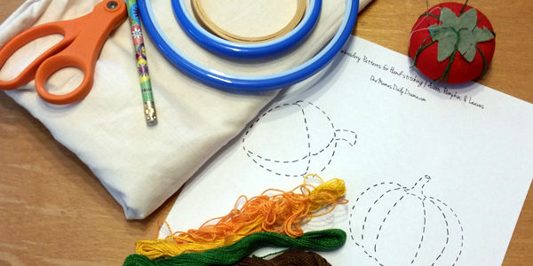 Easy fall bunting embroidery craft + printable pattern