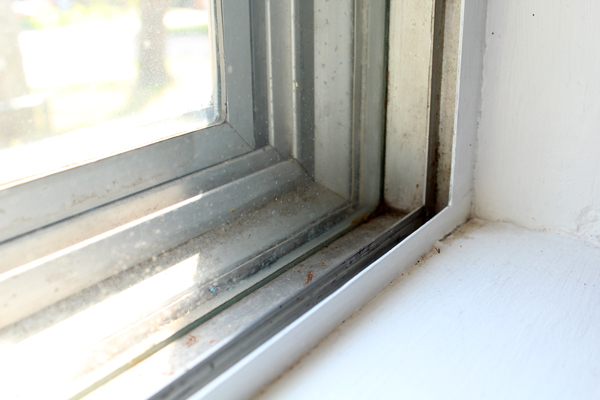 closeup of a dirty window corner
