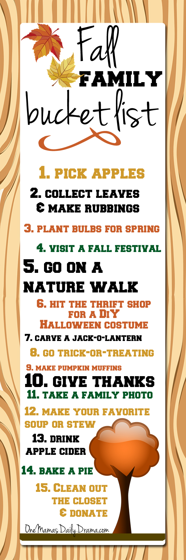 Fall family bucket list infographic with 15 ideas
