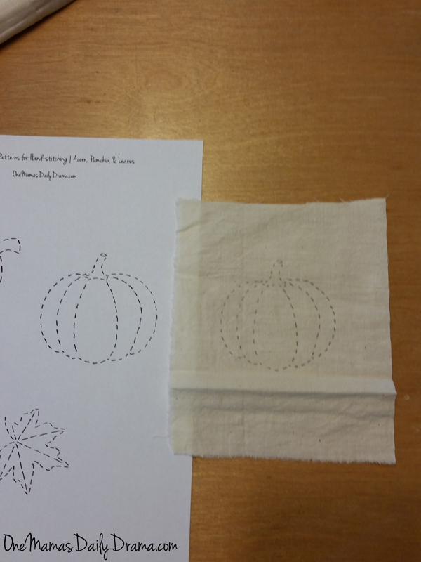 Easy fall embroidery craft | One Mama's Daily Drama --- Make this cute fall bunting with hand-stitched embroidery. Free printable fall pattern, plus embroidery how-to for beginners.