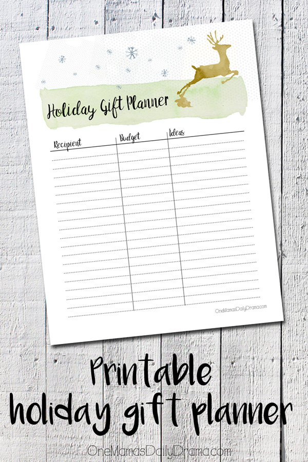printable holiday gift planner
