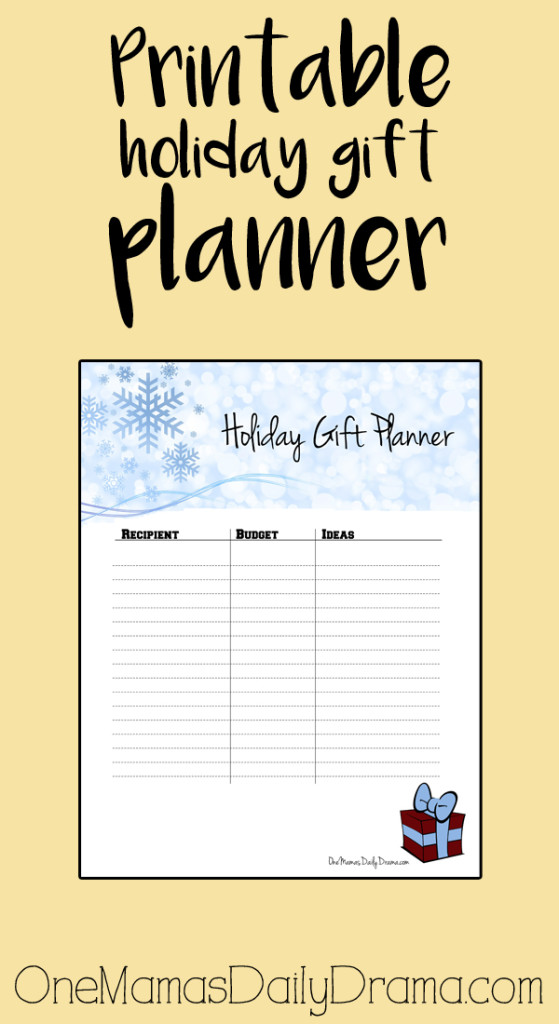 Printable holiday gift planner | One Mama's Daily Drama
