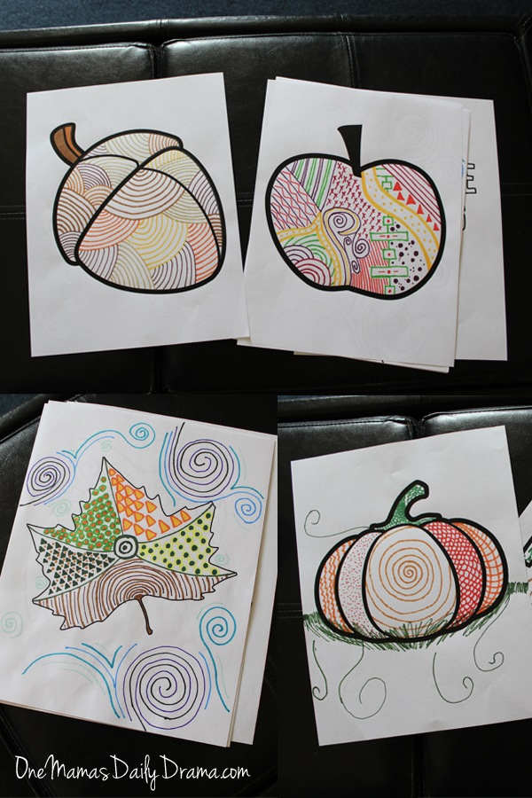 four pages colored with bright colors and mixed patterns: an acorn, apple, pumpkin, and leaf
