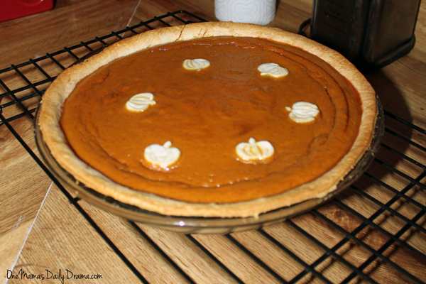 pumpkin pie on a cooling rack