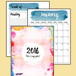 2016 printable planner