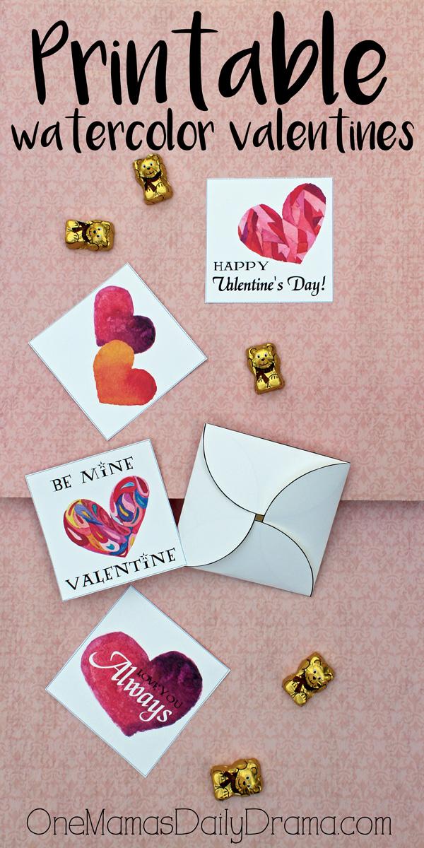 Printable watercolor valentines