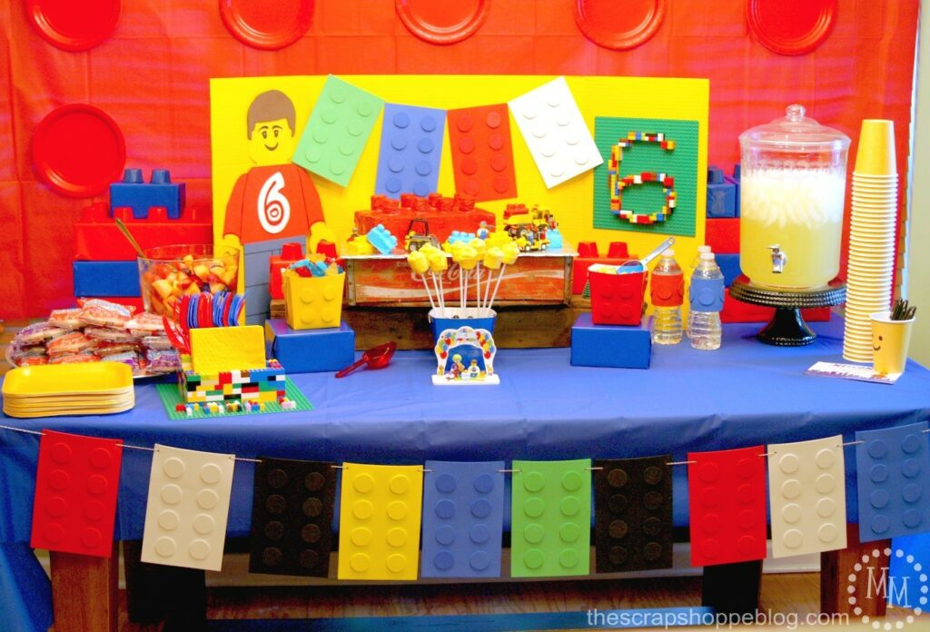 lego party decor from The Scrap Shoppe Blog
