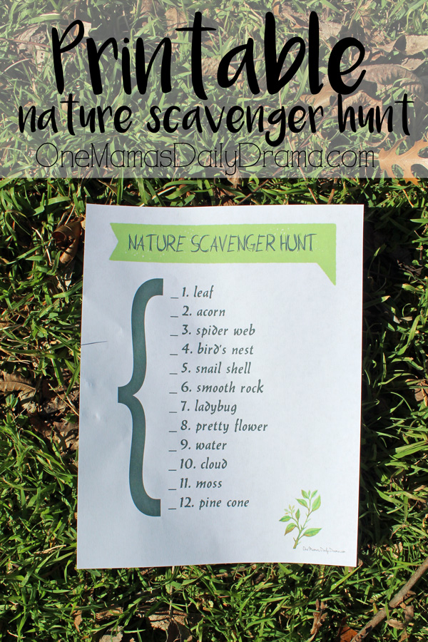 Printable nature scavenger hunt for kids